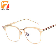 Flat Top Glasses Men Frames Brand Thom Myopia Browne Metal Prescription Glasses Frame Glasses Optical Clear Unisex Oculos(China)