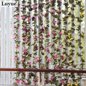 7.38ft Свадебные украшения Новый 2015 Искусственный Поддельный Шелковый Цветок Розы Вайн Висячие Garland Свадебный Home Decor