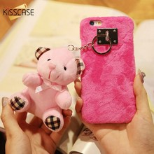 KISSCASE Doll Pendant Plush Case For iPhone 6 6S 7 Plus Hard PC Plastic Girly Back Cover Cute Lovely Cartoon Bear Hang Shells