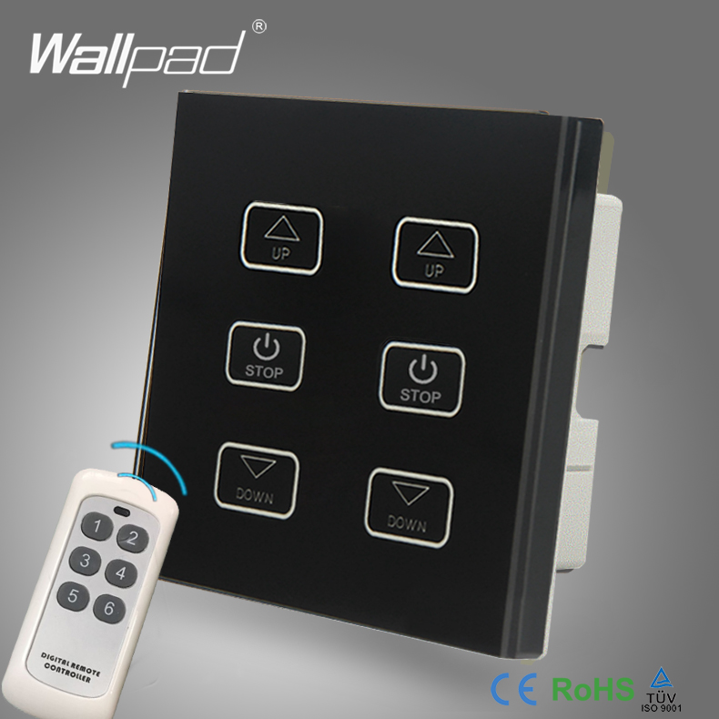 110V-250V LED Dimmer Switch Wallpad Black Glass Panel 6 Buttons Wireless Remote Control 2 Lamps Dimmer Radio Light Switch<br>