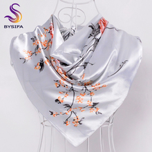 [BYSIFA] Chinese Silk Scarves New Women Winter Plaid Satin Square Scarves 90*90cm Grey White Floral Female Hijab Scarves Stoles