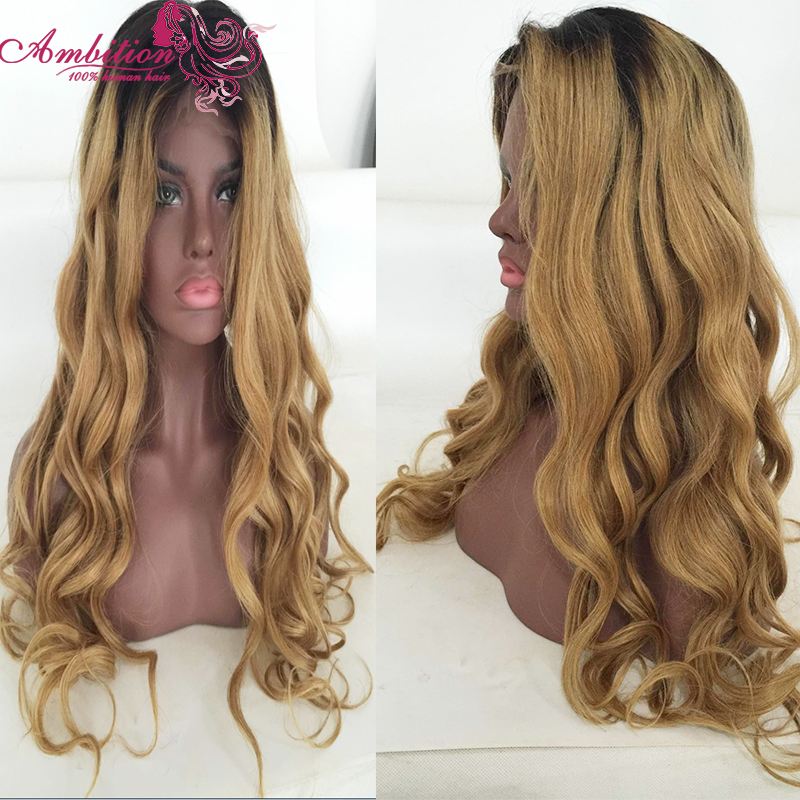 Best Quality T 1b/27 Ombre Human Hair Full Lace Wig Brazilian Virgin Hair Front Lace Wig 150% Density Baby Hair Blonde Hair Wigs<br><br>Aliexpress