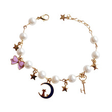 Daisies 1pc Charm Bracelets & Bangles Gold Cat On Moon Simulated Pearl Star Bow Beads Wedding Jewelry For Women