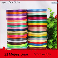 6mm 25yards Single Face Silk Satin Ribbon Decorative Gift Packing Wedding Crafts Christmas DIY Blue White Pink Red Black Ribbons(China)