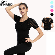 High Elastic Breathable Quick Dry Sexy Hollow Out Mesh Short Sleeved Yoga Sports T-Shirt Gym Clothes Running Tops(China)