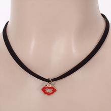 Fashion Black Korea Velvet Choker Necklace Vintage Charm Sexy Red Lips Kiss Pendant Necklace Chokers Neck Chain For Women Girls