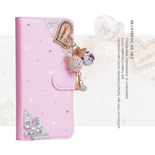 For BlackBerry Priv Q30 DTEK50 DTEK60 Deluxe Fashion Woman Lady Pearl Blooming Heart Diamond Flower Pu Leather Wallet Case(China)