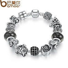 BAMOER Silver Color Retro Beads Rose Car Black Ball Murano Beads Bracelets New Year Gift Aliexpress PA1466