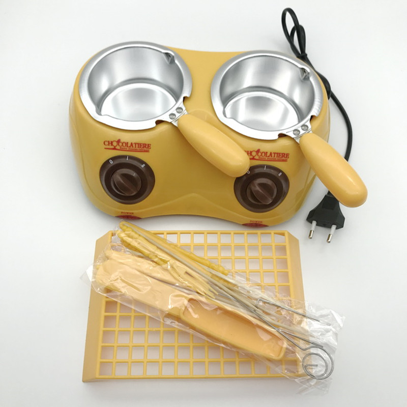 220V Yellow Household Mini Chocolate Soap Furnace Chocolate Melting Furnace Electric Chocolate Pot Chocolate Fondue Machine<br>