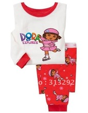 P348, Dora Girl, 100% Cotton Rib long sleeve T shirt + pant, Baby/Children pajamas/sleepwear/clothing sets for 2-7 year.