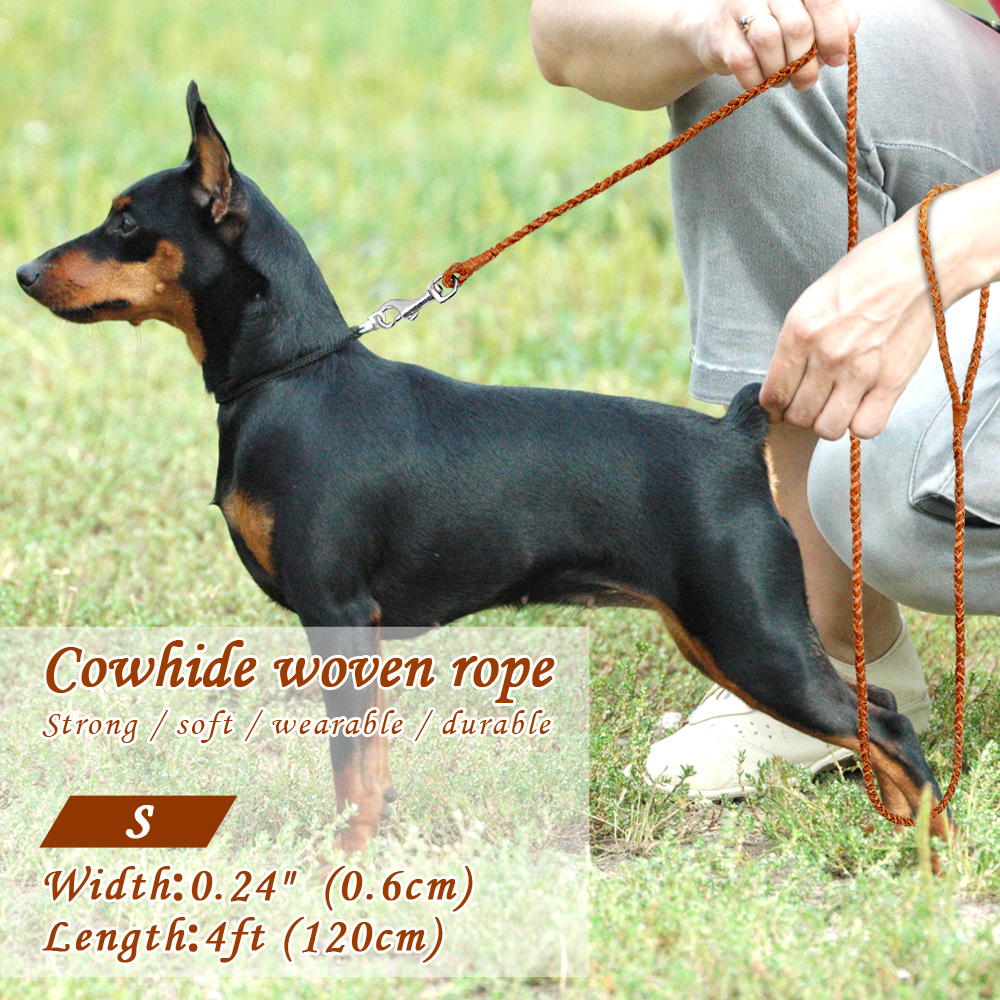 Braided Leather Puppy Walking Leash Leads Brown Color 4ft Long | DogsMall-International