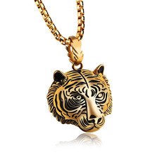 LINSOIR 2017 Gothic Punk Antique Gold/Black Plated Stainless Steel Tiger Necklace for men Hip Hop Animal Necklace Male Jewelry