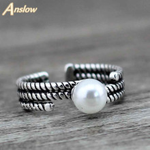 Anslow Hot Selling Fashion Jewelry Wholesale Retail Simulated-pearl Vintage Rings For Women Men Wedding Engagement LOW0011AR