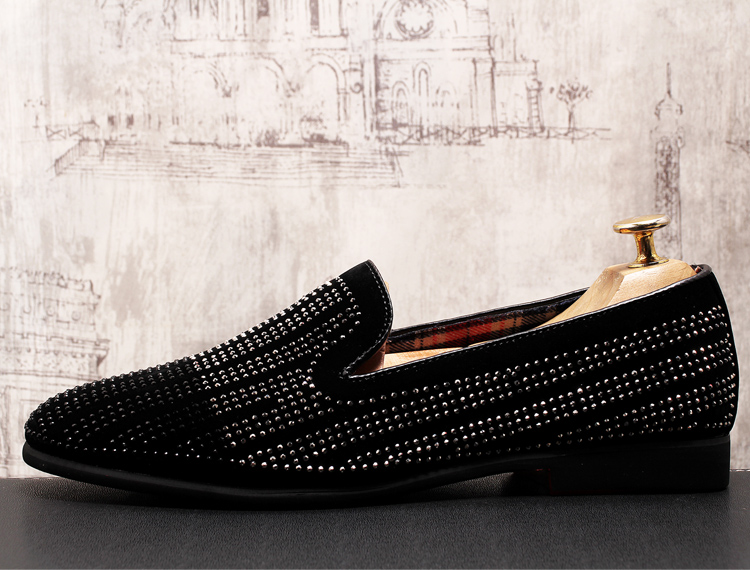 2019 New Gradient Striped Rhinestones Loafers shoes SmokingSlippers Dress Wedding Party Flats Casual Moccasins shoe 48 Online shopping Bangladesh