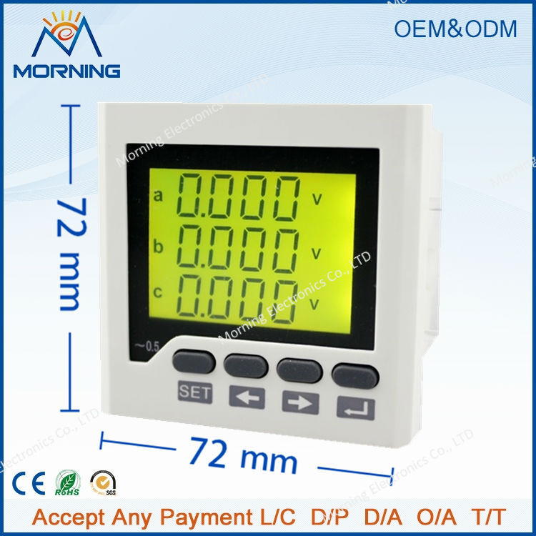 3UIF6Y panel size 72*72 hot sale low price ac lcd digital 3 phase voltmeter and ammeter combined meter, with frequency measure<br>