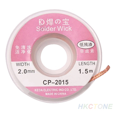 New Design 5 ft 1.5m solder 2.0mm Copper Desoldering Braid Solder Remover Wick Wire Cable CP-2015