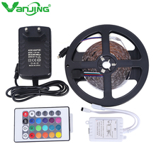5M 300LED SMD3528 RGB LED Strip with 24Key IR Remote Controller DC 12V 2A Power Adapter Changeable Flexible LED Stripe Light