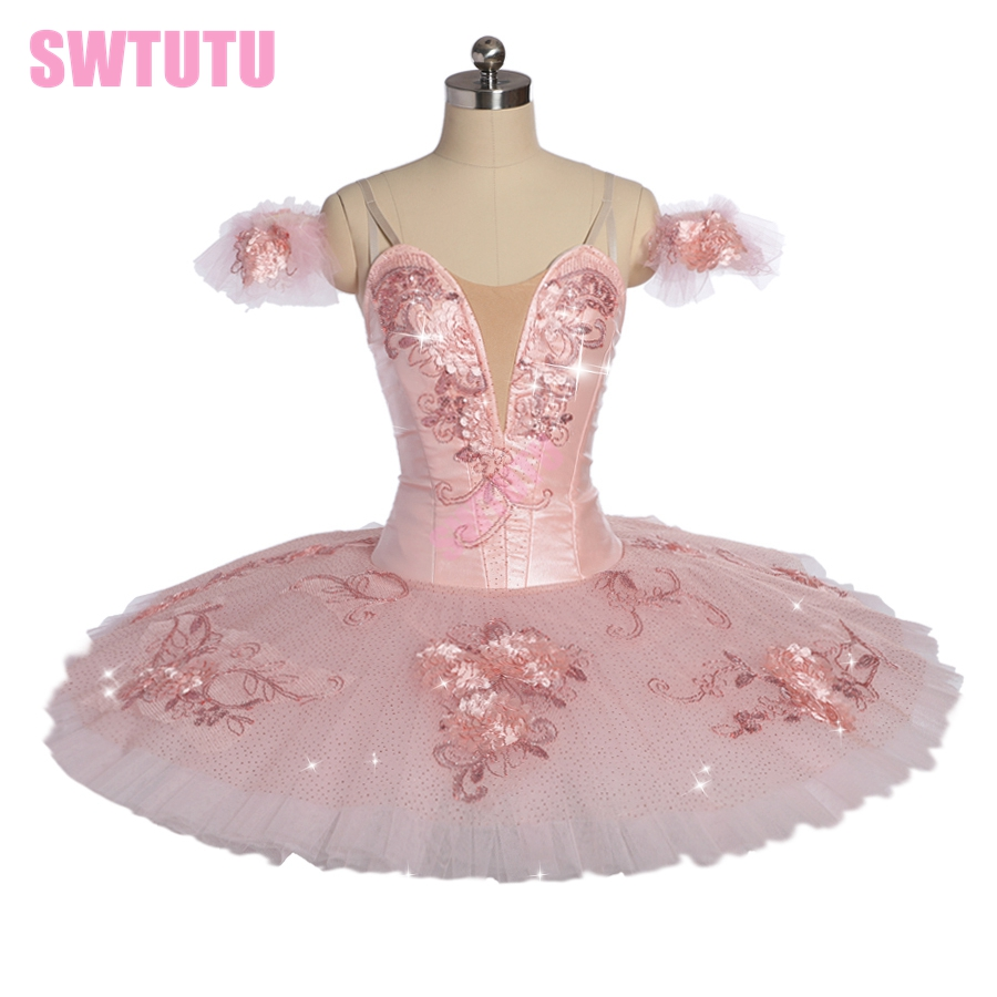 Newest Adult Peach YAGP competiton professional ballet tutu girls flower fairy pancake doll performance ballet costume BT9172