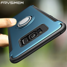 Frvsimem For Samsung Galaxy S7 edge S8 Plus Note 8 Luxury Shockproof Cases Case Metal 360 Finger Ring Holder Car Combo Cover