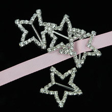 5 Pieces Hot Sale New Sexy Women Pin Up Silver Star Shaped Crystal Diamante Bikini Connectors/ Belt Buckle B01713Y