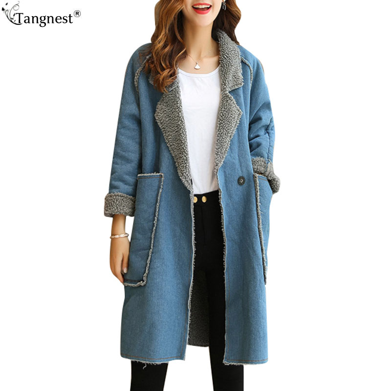 TANGNEST 2017 Winter Denim Thick Warm Coats European Casual Patchwork Turn-Down Collar Long Style Single Button Coats WWM1656Îäåæäà è àêñåññóàðû<br><br>
