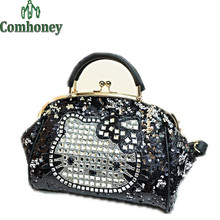 Women Handbags Luxury Hello Kitty Diamond Evening Bag Shoulder Tote Bolsos Wedding Party Handbag Purse Ladies Shoulder Bag