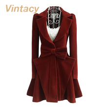 Vintacy Clearance vintage coat fashion red autumn  women coats woolen slim casual coat bowknot women overcoat female outerwear