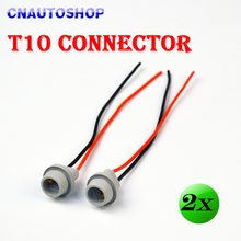(2 Pieces/Lot) T10 Connector 10CM W5W 168 194 Car Lamp Cable Auto Bulb Wire Truck Light LED Bulbs Socket(China)