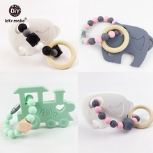 Let's make Wooden Teething Ring Baby Rattle Silicone Teether Elephant Train 4pc Crib Toys Car Seat Hanging Baby Teether
