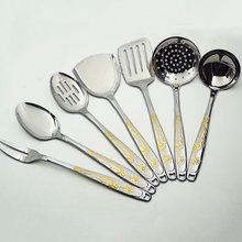 New 201 stainless steel cookware sets kitchenware spoon shovel 7 pieces lotus pattern household free shipping