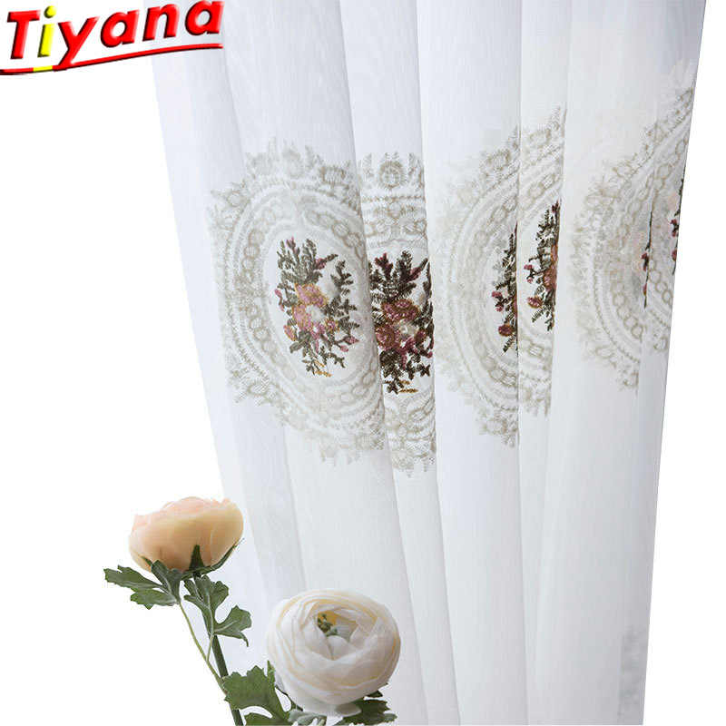 European Flower Embroidery Tulle Curtains for Living Room White Sheer Yarn Green Flower Embroidery Curtains Tulle WP243#30