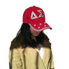 Drop shopping  Sorority DST  hat  letters style Glass denim capst custom baseball cap Hat rhinestone Delta Sigma Theta ha