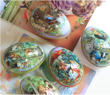 Easter eggs tin box Metal portable colorful iron candy Container Storage  Box egg shape mix order 12pcs/ lot free shipping