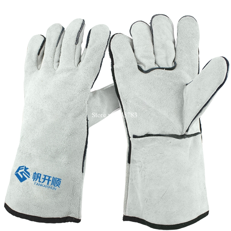 welding gloves High quality guantes trabajo cuero gray Large size fireproof The cut safety guantes de proteccion<br><br>Aliexpress