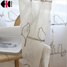 Bird Tulle curtains Embroidered Tulle designer curtains Faux Linen Sheer Tulle for the living room Ready Made WP402A(China)