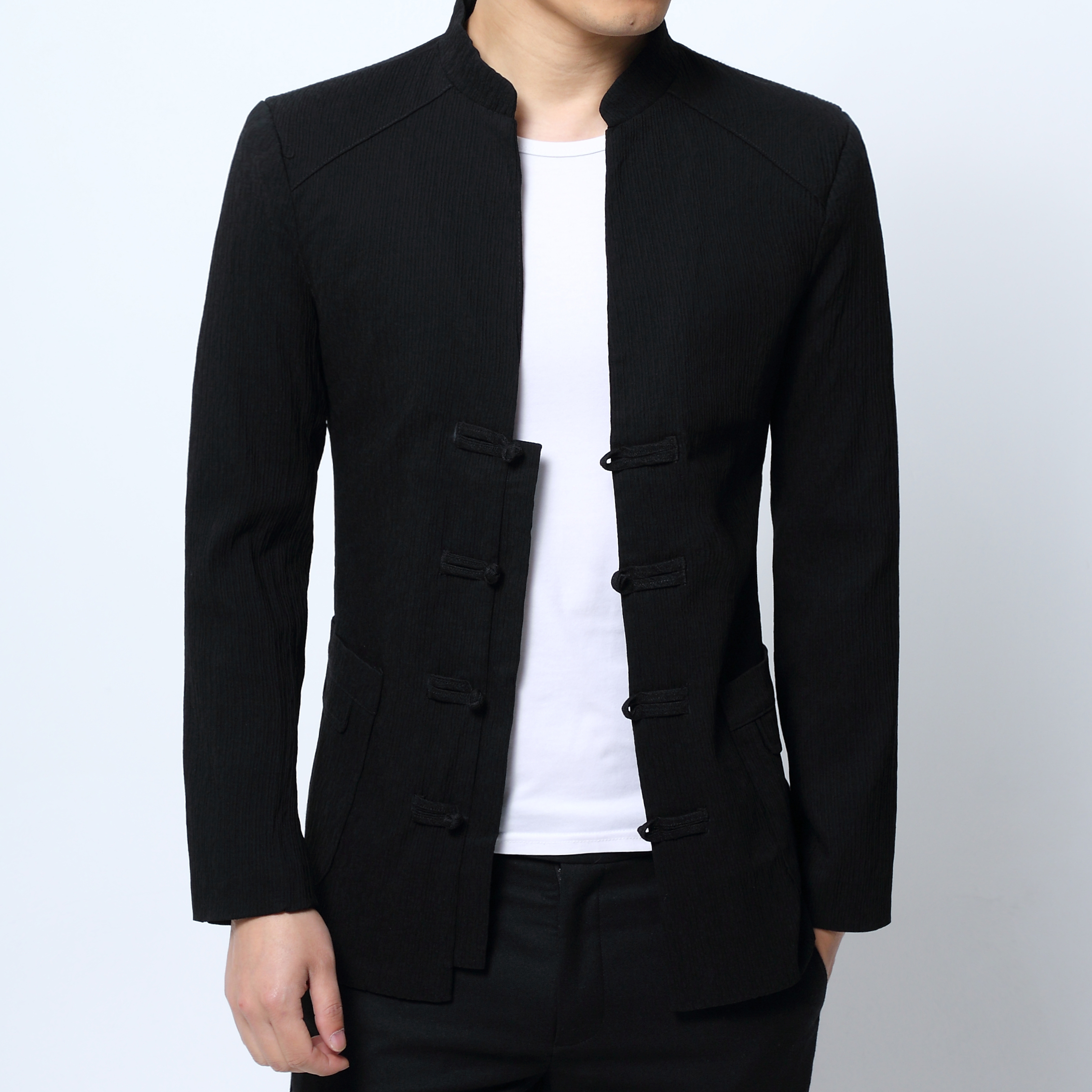 Men's Long Sleeve Jackets, Chinese Retro Style, Black Jacket Men Fashion Casual Male Coats, Size S 4XL