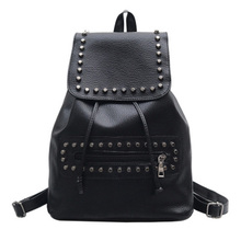 Brand Fashion Women Backpacks Rivet Black Soft Washed Leather Bag Schoolbags For Girls Female Leisure Bag mochilas
