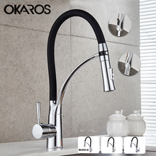 OKAROS Pull Out Kitchen Faucet Black Chrome Finish Dual Sprayer Nozzle Cold Hot Water Mixer Bathroom Faucet Torneira Cozinha(China)