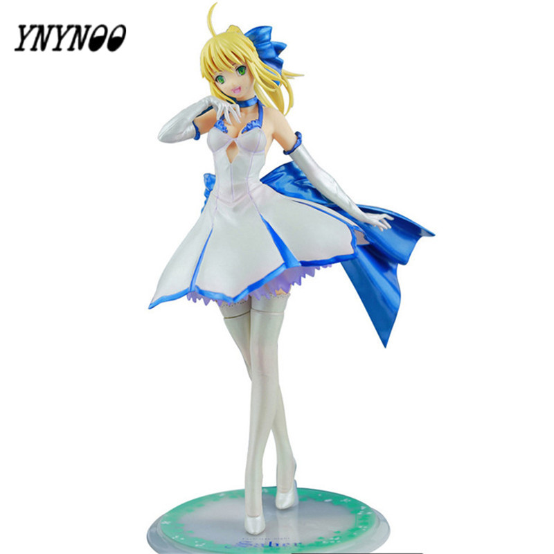 YNYNOO New Fate/stay night Saber white dress cartoon doll PVC 21cm Japanese figurine Collection Men Birthday Gifts<br>