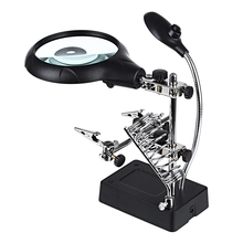 New Welding Magnifying Glass 5 LED Auxiliary Clip Magnifier 2 Exchangeable Lens Hand Soldering Solder Iron Stand Holder Station