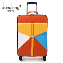 "18 24 inch New surface Spell color PU leather trolley suitcase/ 20"" boarding luggage/universal men and women wheels trolley bag(China)"