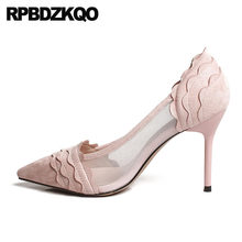 45d1a305c09b Pumps High Heels Sandals 2018 Pointed Toe Size 4 34 Prom Scarpin Cute Mesh  Catwalk Sweet Suede Green Shoes For Women Unique Pink