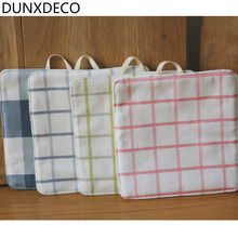 DUNXDECO Table Placemat Cotton Plate Cup Pot Pad Modern Check 19x19CM Kitchen Desk Accessories Decor