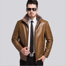 The New Winter 2016 Brand Men's Clothing Leather Jacket Business Casual Men's Collar Leather Jacket Upset Man Warm Dust Coat(China)