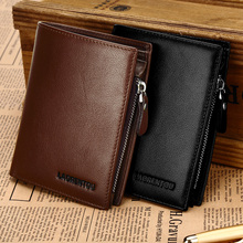 Laorentou 100% Genuine Cow Leather Fashion Casual Men's Leather Wallet Multi-Card With Zipper Male Wallet Money Coin Purses