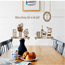 modern creative Kitchen cabinets decorative wall art stickers DIY removable vinyl Kitchen room shop store coffee home decor