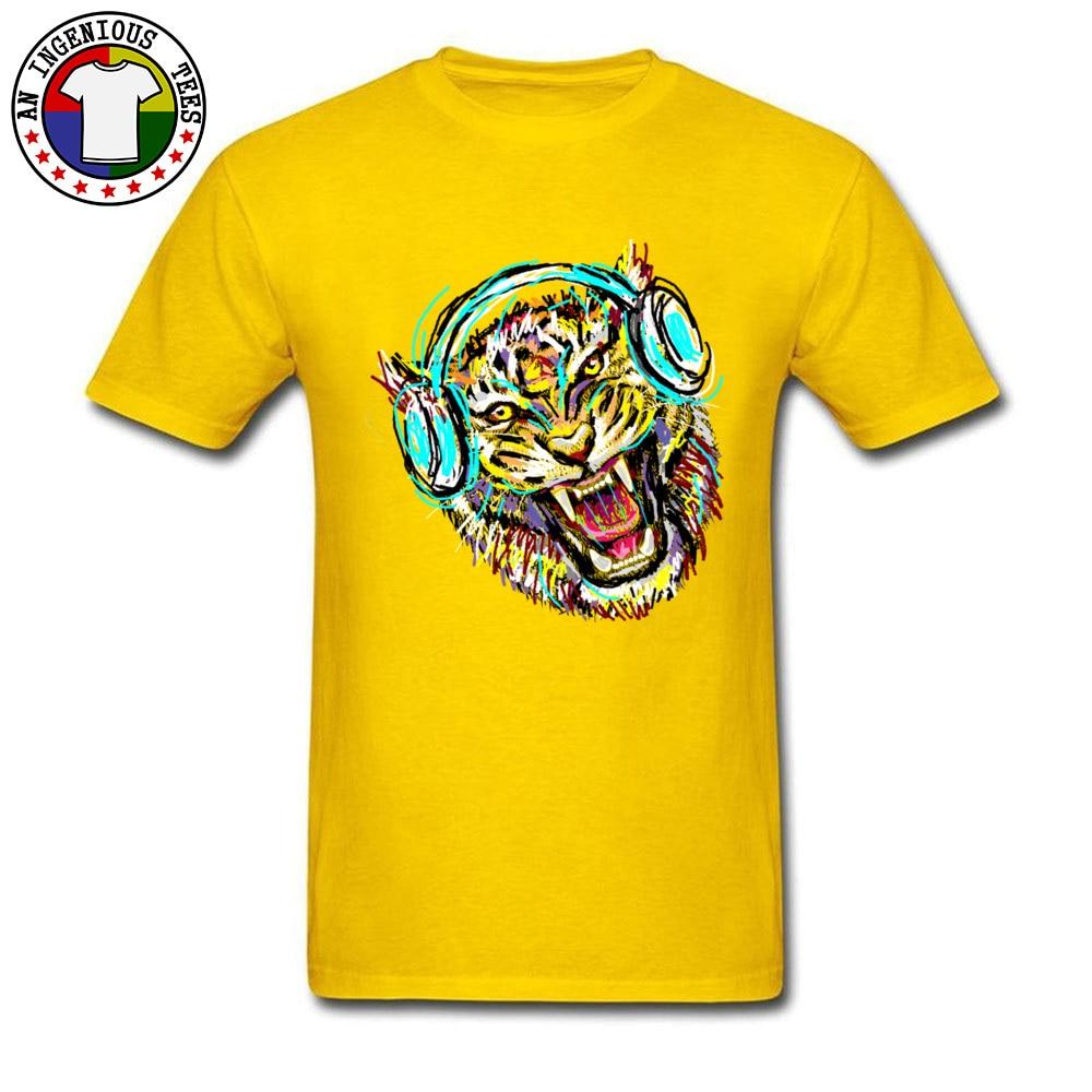 2018 Men T Shirt Cool Wild Music Printed On T-Shirt 100% Cotton Short Sleeve Print T Shirt Crew Neck Wholesale Cool Wild Music yellow