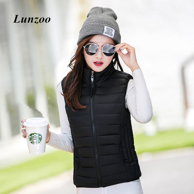2017 Autumn Winter Fashion Cotton Vest Women Las Sleeveless Stand Collar Casual Coat Colete Feminino Waistcoat