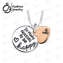 Two Tone Rose Gold Silver BE SO MANY REASON TO BE HAPPY 2 Part Heart Pendant Necklace Women Mother Gift 20Pcs/Lot #LN1077(China)
