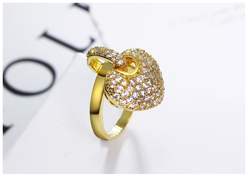 Gorgeous Zircon Diamond Heart Rhodium Rings